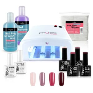 MYGEL White UV Lamp Kit w/ Gel Nail Polish Essentials