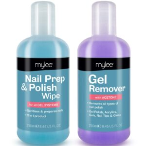 Mylee Nail Prep & Polish Wipe + Gel Remover Duo, 250ml