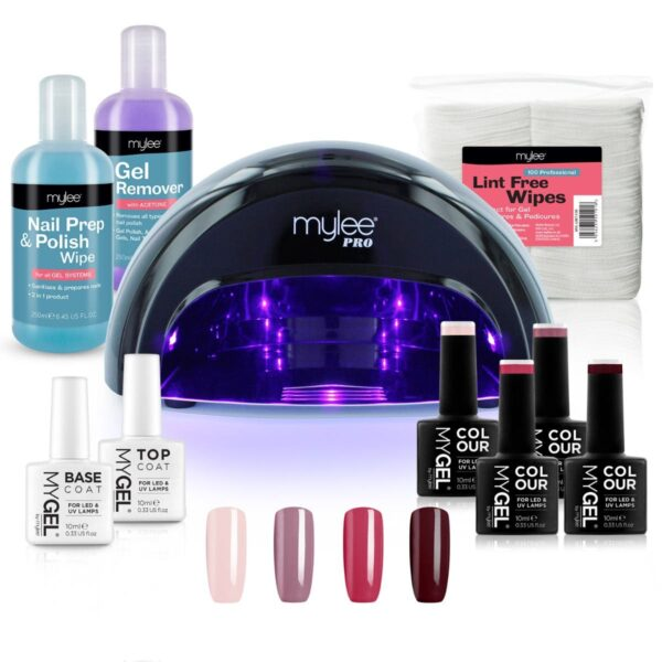 MYGEL Black Convex Curing Lamp Kit w/ Gel Nail Polish Essentials