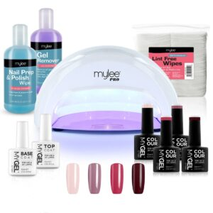 MYGEL White Convex Curing Lamp Kit w/ Gel Nail Polish Essentials