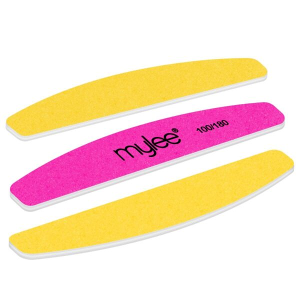 Mylee 3 Pack Double Sided Half Moon Nail File 100/180 Grit